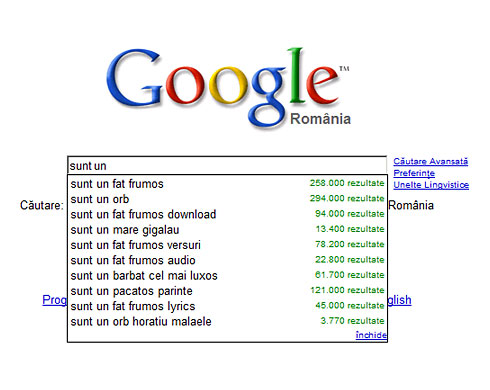 "Google ""sunt un"" suggestions..."
