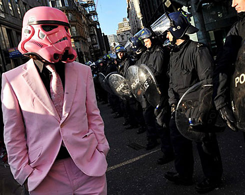 Pink Stormtrooper Protester at the G20