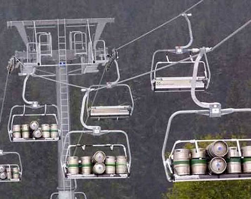 Beer kegs by chairlift