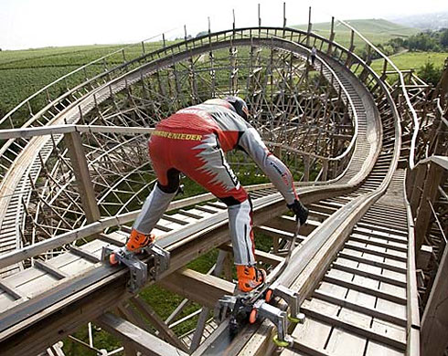 Extreme roller coaster skating
