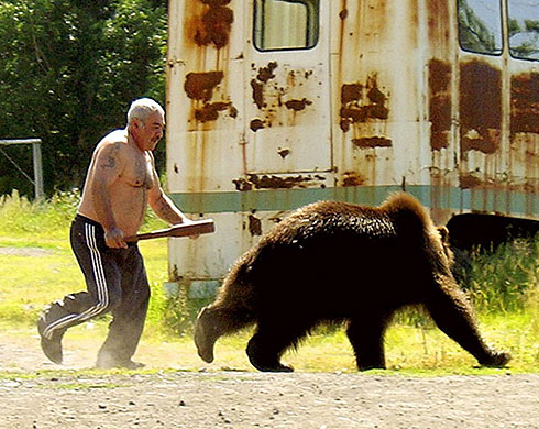 Armed Bear Chasing Coward Bear